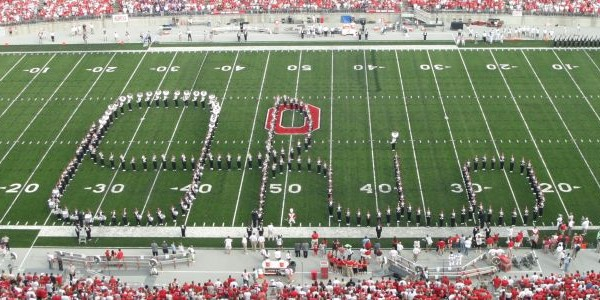 Image of the Ohio State University band dotting the i